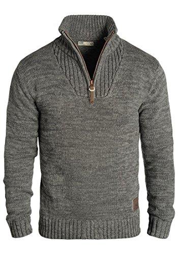 !Solid Philostrate Herren Strickpullover Troyer Grobstrick Pullover Aus 100% Baumwolle Mit Reißverschluss, Größe:XL, Farbe:Dark Grey (2890)