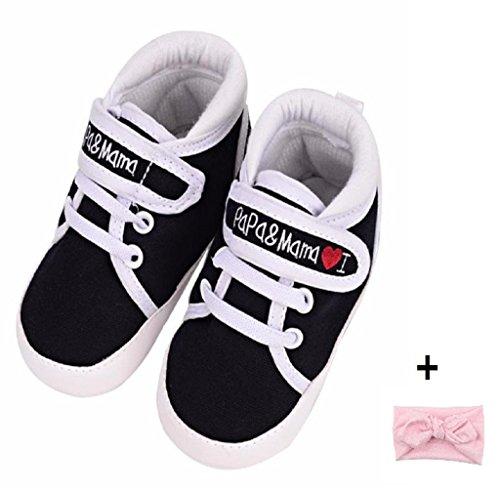 Amison Niedlich Baby Säugling Kind Junge Mädchen weiche Sohle Leinwand Sneaker Kleinkind Schuhe (12-18 Monate, Schwarz)