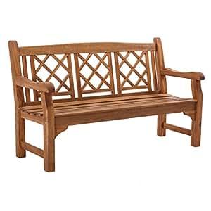 Gartenbank 3-Sitzer Akazie Massiv-Holz Natur Geölt 150 cm