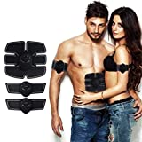 ABS Stimulator Muskel Trainer, ABS Stimulator & Muscle Toner EMS Unterleib Gürtel – Elektrische Wireless Trainer Gürtel Ultimate Fitness Fitness Home Office Fitness Equipment für Bauch/Arm/Bein T, Schwarz