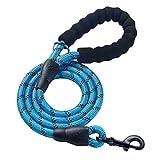 dfyjrikjso Haustier Leine Seil Hund Seil Eva reflektierende Multicolor runde Seil Nylon zugseil hundekette blau 150 * 1,2 cm