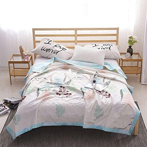 zhiyuan 100% Baumwolle leicht Sommer Steppbett Decke, 100 % Baumwolle, Beige & Light Blue, Volle Größe