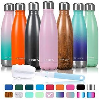 arteesol Wasserflasche-Doppelwand-Vakuum-Edelstahl-Flaschen-Auslaufsicher hält heiße und kalte Getränke für Laufen, Fitness, Wandern, Radfahren, Camping, Arbeiten (Erröten, 750ml)