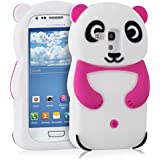 kwmobile Hülle für Samsung Galaxy S3 Mini i8190 - TPU Silikon Backcover Case Handy Schutzhülle - Cover klar Panda Design Pink Weiß