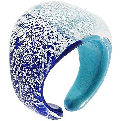 Veneciana de Murano azul y turquesa 925 Anillo de plata de ley Foil. Hecho a mano genuino en Italia, muy bien presentado en una caja de regalo con certificado de autenticidad.