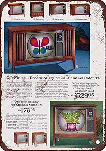 mefoll Vintage Signs 12x16 1964 Sears Color Televisions Wall Decor Art -