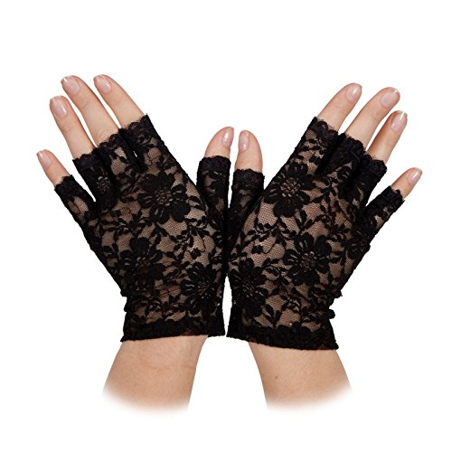 Ladies Fingerless Black Lace Gloves