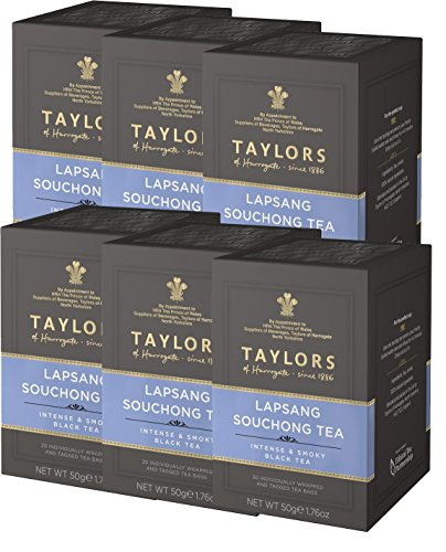 Taylors of Harrogate Lapsang Souchong Tea 6 x 20 Wrapped & Tagged Tea Bags
