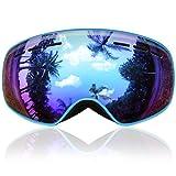 Gafas de Esquí Niños, eDriveTech Máscara Gafas Esqui Snowboard Nieve Espejo para Niño Niña Júnior Chicos Chicas 3 4 5 6 7 8 9 10 11 12 13 14 15 Años Anti Niebla Gafas de Esquiar OTG Protección UV (Azul)