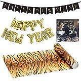 23 Teile Silvester-Dekorations-Set Dinner for One - Miss Sophie & James - 23 Teile - Party-Deko Set Neujahr / Motto-Party / Servietten / Ballon-Girlande / Banner & Tisch-Läufer Tiger