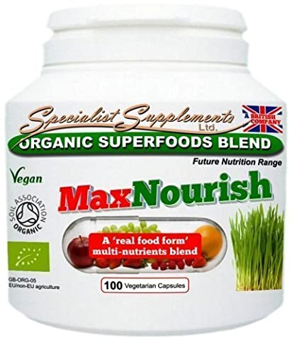 Max Nourish Capsules SuperFoods: Natural Herbal MultiVitamin (100 VegiCaps) - 100% Organic by Specialist Supplements Ltd.
