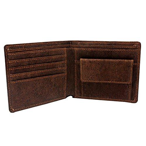 Boshiho - Cartera de corcho, delgada, plegable, con bolsillo para las monedas, cartera vegana respetuosa con el medioambiente para regalo, color marrón, talla Talla única