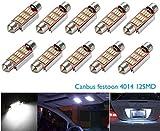 CICMOD 10x 800 Lumen CANBUS fehlerlose 12*4014 SMD LED Innenraumbeleuchtung Innenbeleuchtung Kennzeichenbeleuchtung Soffitte Lampe Licht 39mm Xenon-Weiß 6000K