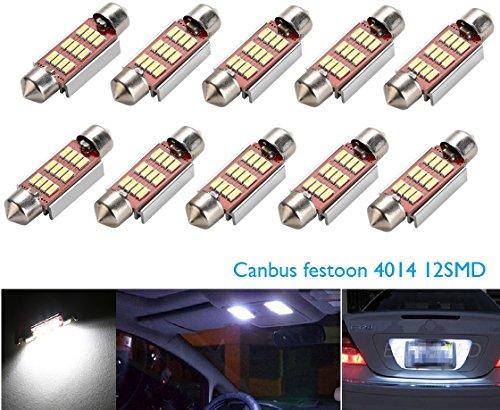 CICMOD 10x 800 Lumen CANBUS fehlerlose 12*4014 SMD LED Innenraumbeleuchtung Innenbeleuchtung Kennzeichenbeleuchtung Soffitte Lampe Licht 36mm Xenon-Weiß 6000K