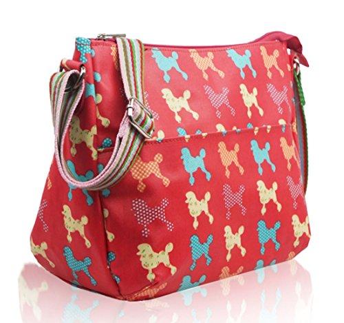 Kukubird vari Poodle farfalla fiori stelle polkadots pattern & Rainbow Strap Sling crossbody Messenger scuola palestra Bag Red
