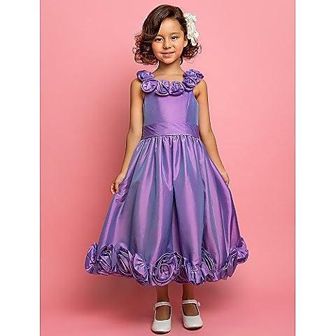 ZY/ Flower Girl Dress - Trapezio/Stile Principessa Lunghezza t¨¨ Senza Maniche Taffeta , orange , child-13
