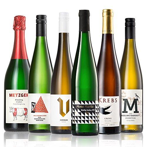 GEILE WEINE Weinpaket RIESLING (6 x 0,75l) Deutscher Weißwein von Winzern der Mosel, Saar, Rheinhessen und Pfalz