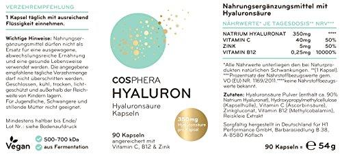 Hyaluronsäure Kapseln – Hochdosiert mit 350 mg pro Kapsel. 90 vegane Kapseln im 3 Monatsvorrat – 500-700 kDa – Angereichert mit Vitamin C, B12 und Zink – Für Haut, Anti-Aging und Gelenke – Cosphera - 7