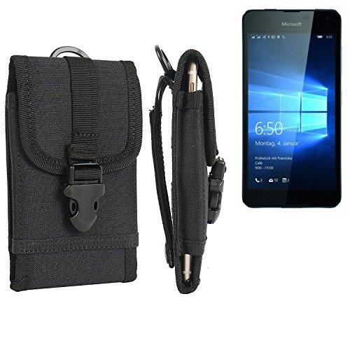K-S-Trade Handyhülle für Microsoft Lumia 650 Dual-SIM Gürteltasche Handytasche Gürtel Tasche Schutzhülle Robuste Handy Schutz Hülle Tasche Outdoor schwarz