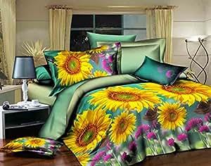 155x200 cm 3D Microfaser Bettwäsche Bettbezüge Bettwäschegarnituren 4tlg mit dem Bettlaken 180x225 schöne Farben und Muster Blumen Blumenmuster Blumenmotiv FSH284