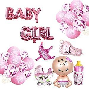 Oumezon Babyparty Deko Mädchen, Baby Shower Party Deko - Baby Girl Ballon Banner, Aluminiumfolienballon (Mädchen + Milchflasche+ Kinderwagen + Kronenballon + Fuß),Konfettiballon + Latexballon