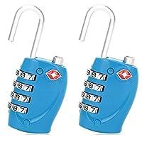 Amazing Tour] 2 x TSA Security Padlock - 4-dial Combination Travel Suitcase Luggage Bag Code Lock - Blue