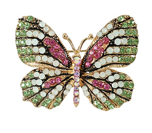 - Weihnachten grün rosa weiß strass Brosche Schmetterling 1320 Bejeweled Damen