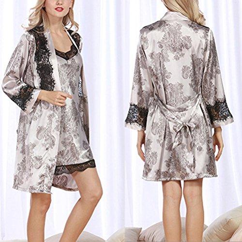 Zhhlinyuan Fashion Women's Robe Satin Babydoll Set Dressing Gown Lace&Floral Print Nightwear gray