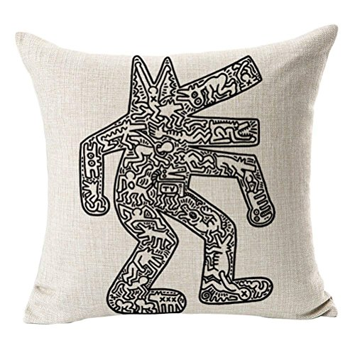 DEFFWBb Throw Pillow Cover, CosyDeal Home Decorative Modern Keith Haring Abstract Graffiti Printing Cotton Linen Square Throw Pillow Cover Cushion Case, 18