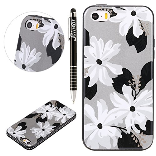 Custodia iPhone 5S, iPhone SE Cover Flower, SainCat Custodia in Silicone Morbida e Hard PC Protettiva Cover per iPhone 5/5S/SE, Custodia Bling Glitter Strass Diamante 3D Design Ultra Slim Silicone Cas Quattro Bianco