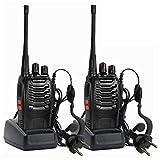 COMOTS 2X Baofeng BF-888s Funkgeräte Set Walkie-Talkie Funksprechgeräte 16 Kanäle Reichweite Radio Handfunkgerät mit Wiederaufladbar Akkus und Headset(1 Paar mit Headset)
