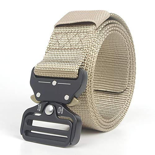ZHYAODAI Nylon Straps Metal Buckle Military Combat Tactical Strap Men Thicken Heavy Duty Belt, Khaki, Adjustable