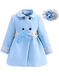 Lajinirr Niñas Winter Abrigos moda prendas de vestir exteriores azul chaqueta con diadema