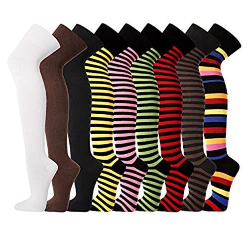 TippTexx24 Damen Overknees, Überkniestrümpfe uni oder geringelt, passend für alle Damengrößen (braun)