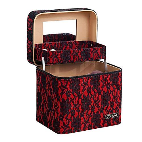 Boîte cosmétique, boîte de rangement cosmétique de grande capacité portable portable sac cosmétique fille mignonne embrayage portable beauté set boîte de rangement ( Color : Red , Size : 18*18*24cm )