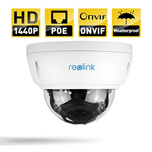 Reolink RLC-422-LB 4MP 1440P Poe IP Security Camera System with 4 Auto Focus Dome and Night Vision Dome Optical Security System