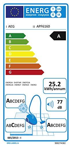 AEG PowerForce APF6160 Staubsauger mit Beutel EEK A (700 Watt, inkl. Mini-Turbodüse und Spezialdüsen-Set für Tierhaare, 3,5 l Staubbeutelvolumen, Softräder, waschbarer Hygiene Filter E12) weiß - 2