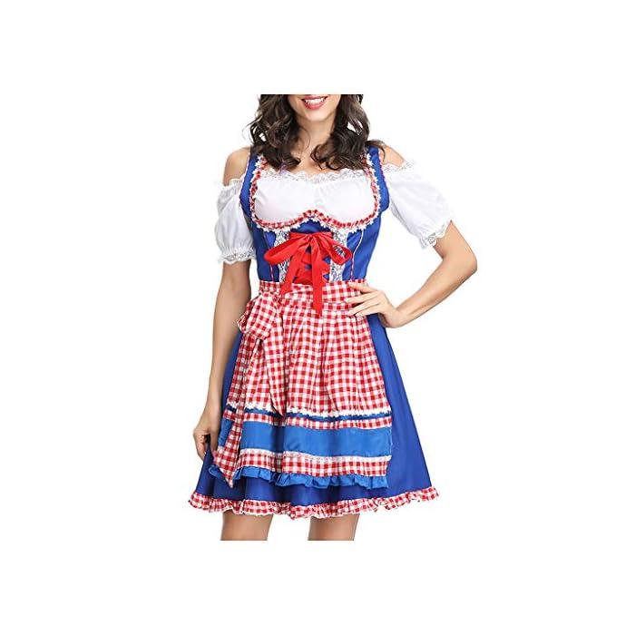 URSING Damen Trachtenkleid Ballkleid Festkleid Petticoat Kleider Blusenkleider Dirndl Schulterfrei Kleid Dirndlkleid…