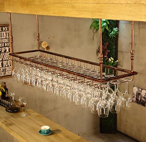 FAFZ Glas Wein Glas Rahmen Wein Rack Upside Down Becherhalter Wein Rack Weinregal Aufhängen Wein Glas Rack einfach Haushalt Weinregal Wein Racks, Eisen, a, 120*7*40cm (Paletten-weinregal, Wand-montiert)