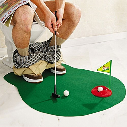 Bathroom Toilet Mini Golf Game Potty Putter Novelty Putting Gift Toy