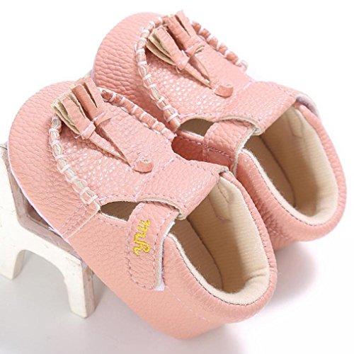 Saingace Krabbelschuhe,Baby-Säuglingskind-Mädchen-Jungen-weiche alleinige Krippe-Kleinkind-Neugeborene Troddel-Schuh-Turnschuhe Rosa