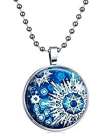 Yumi Lok Punk Cool copos de nieve la oscuridad, para colgante collar aleación medallón kettenänhanger para mujer hombre, luz azul