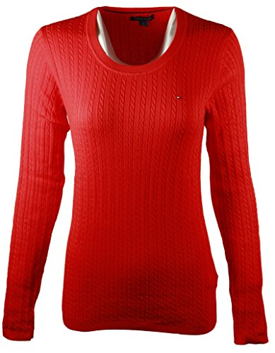 Womens Scoop Neck Knit (Tommy Hilfiger Womens Scoop Neck Cable Knit Sweater (Large, Red))