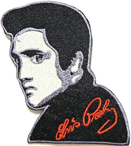 Elvis Presley King of Pop Rock N Roll Logo Punk Rock Heavy Metal Music Band Jacket shirt hat blanket backpack T shirt Patch Embroidered Appliques Symbol Badge Cloth Sign Costume Gift by Large husky music patches
