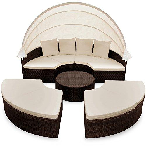 Deuba XXL Poly Rattan Sonneninsel Ø 230cm I mit Dach & Tisch I 7cm Dicke Auflagen + 4 Kissen I Braun – Lounge Liege Sitzgarnitur Gartenmöbel Set