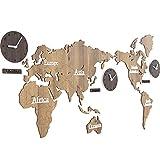 HHYS Moderno Super Grande Mappa Del Mondo Di Legno Creativo Orologio Da Parete Numeri Lettere Fai Da Te 3D Etichetta Casa Soggiorno Ufficio Arredamento,Lightbrown