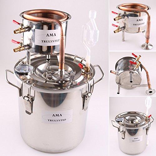 FayeLong CASA Alambicco Distillatore Temperatura Rame Serpentina Acqua Vino Oil (10 L Litri, Rame)