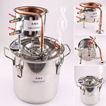 10 L Litro DIY Nuevo CASA Alambique Destilador Cobre Destilación Enfriador Caldera Termómetro Alcohol Agua Esencial