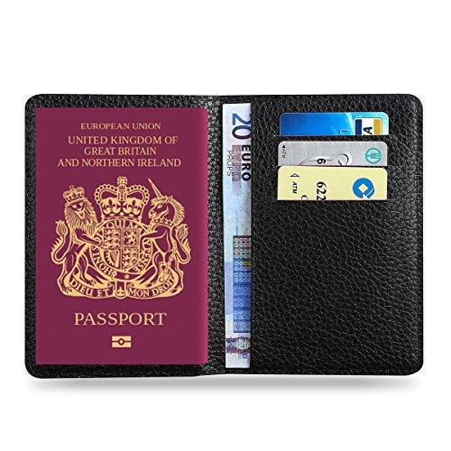 MPTECK   Nero Custodia passaporto da viaggio porta passaporto Organizer in  pelle sintetica PVC per documenti 37a40d47e959