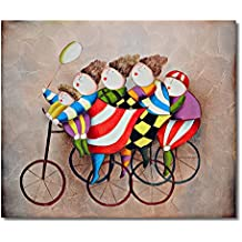 Raybre Art® 50 x 60 cm Cuadros en Lienzo al óleo 100% Pintados a Mano - Cuadros Abstractos Modernos Baratos - Niños Dibujos Lindos Mono para hogar decorativos Arte Pared Dormitorio Infantil, Sin bastidor (Bicicleta Sombrero